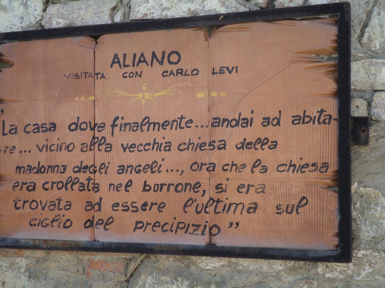 Street sign in Aliano