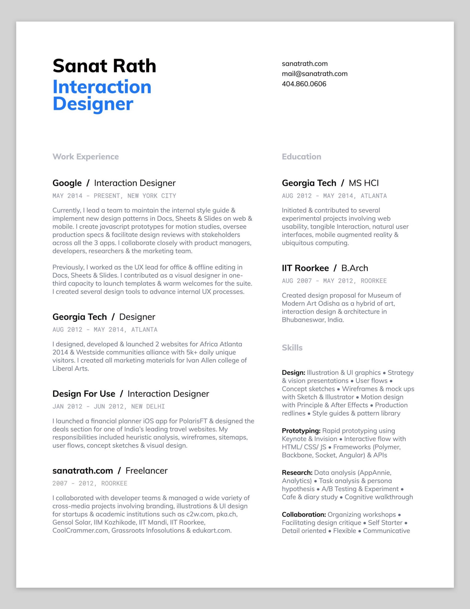 10 amazing designer resumes that passed google u2019s bar