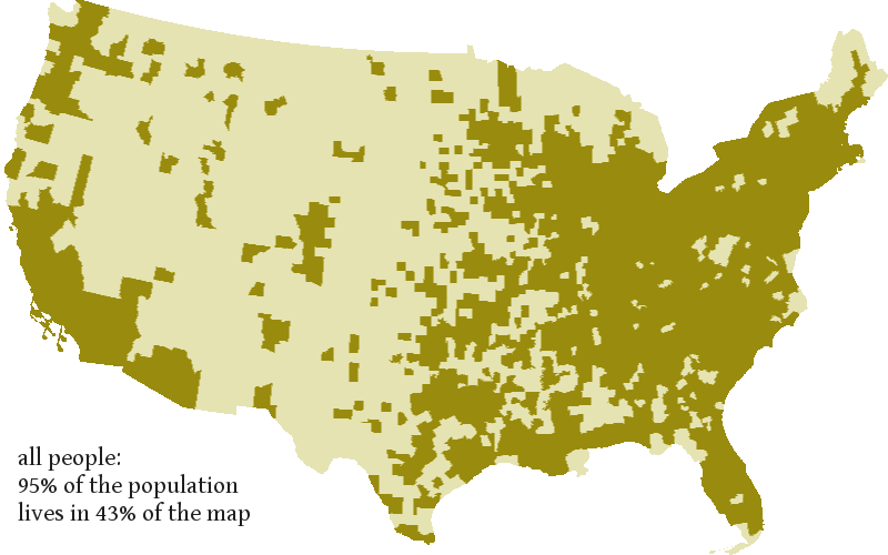 When You Group Individuals Into Counties Half Of The Map 57 Is Inhabited By 5 Of The Population Here S How That Looks With Most Of The Midwest And