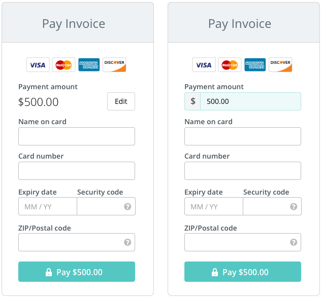 The anatomy of a credit card form ux collective to their credit card we display the payment amount inside the pay button at the bottom of the form this amount updates synchronously with the amount colourmoves