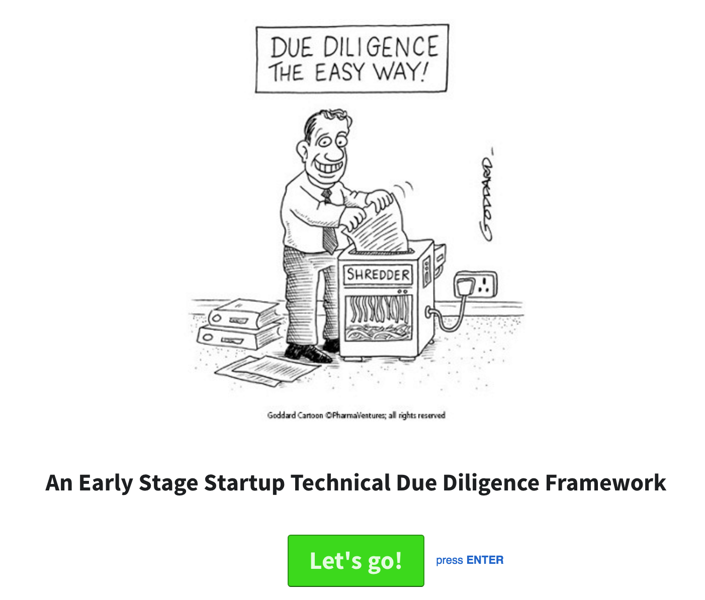 A Technical Due Diligence Framework for Early Stage Startups