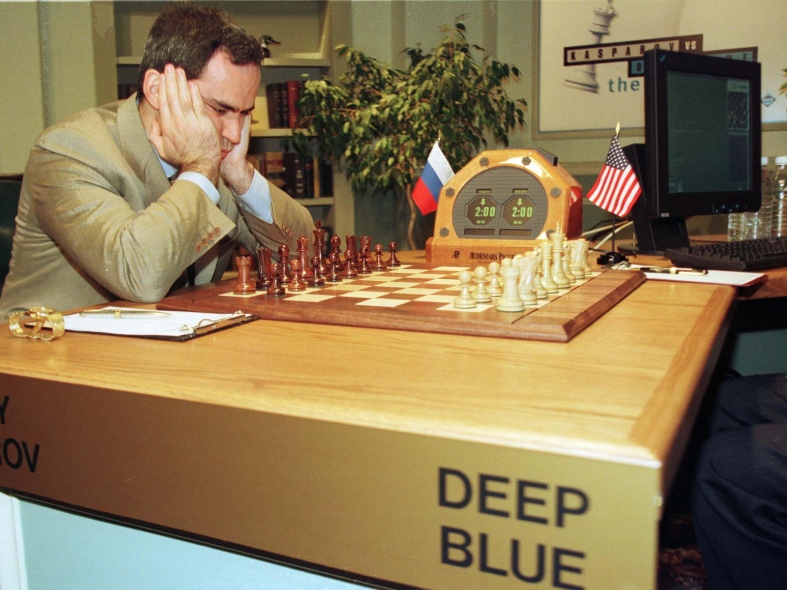 Deep blue playing chess against Garry