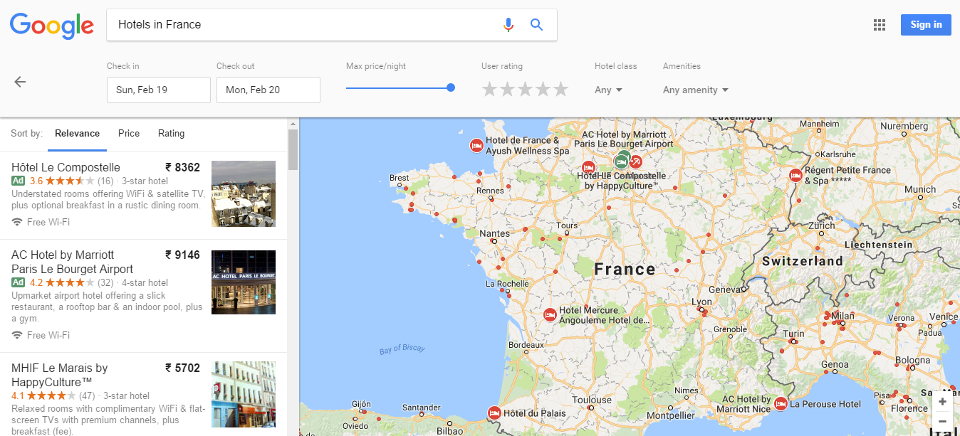 Once User Click On More Google Redirected To Their Map Section And They Show The List Of Hotels With Prices Locations Some Filter