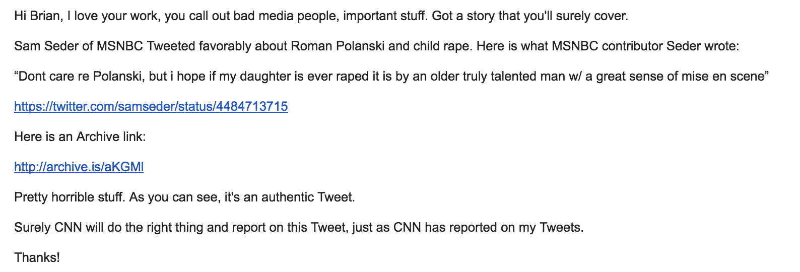 i emailed brian stelter at cnn he refuses to cover the story