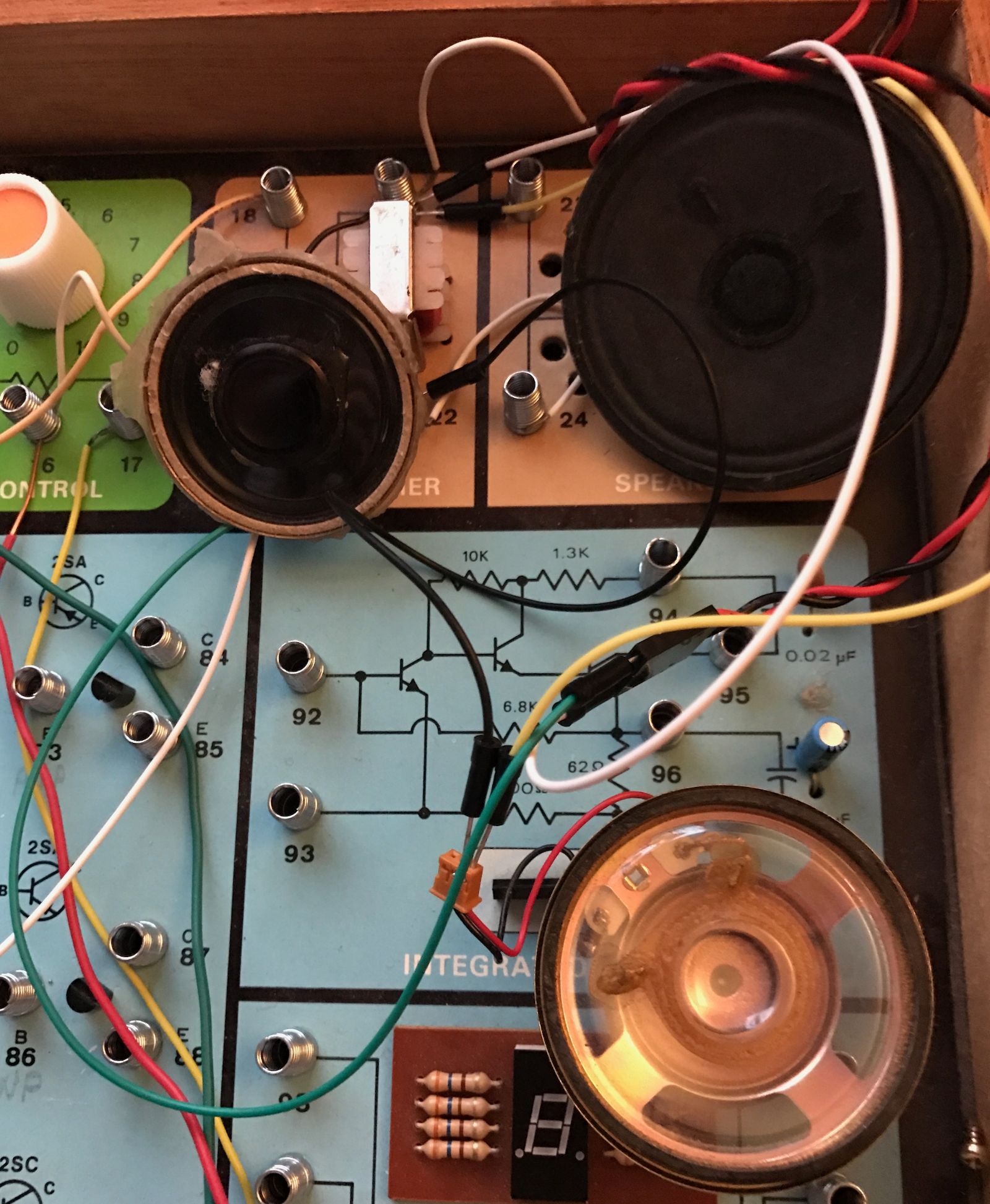 Electronic Project Kits Hands On With A Vintage 160 In 1 And Electronics Engineering Circuits For You Circuit The Speaker Is Only Specified As 57 Mm S 4565 Parts List But I Measured 82 Which Looks About Right Three Extra Speakers Shown Above Were