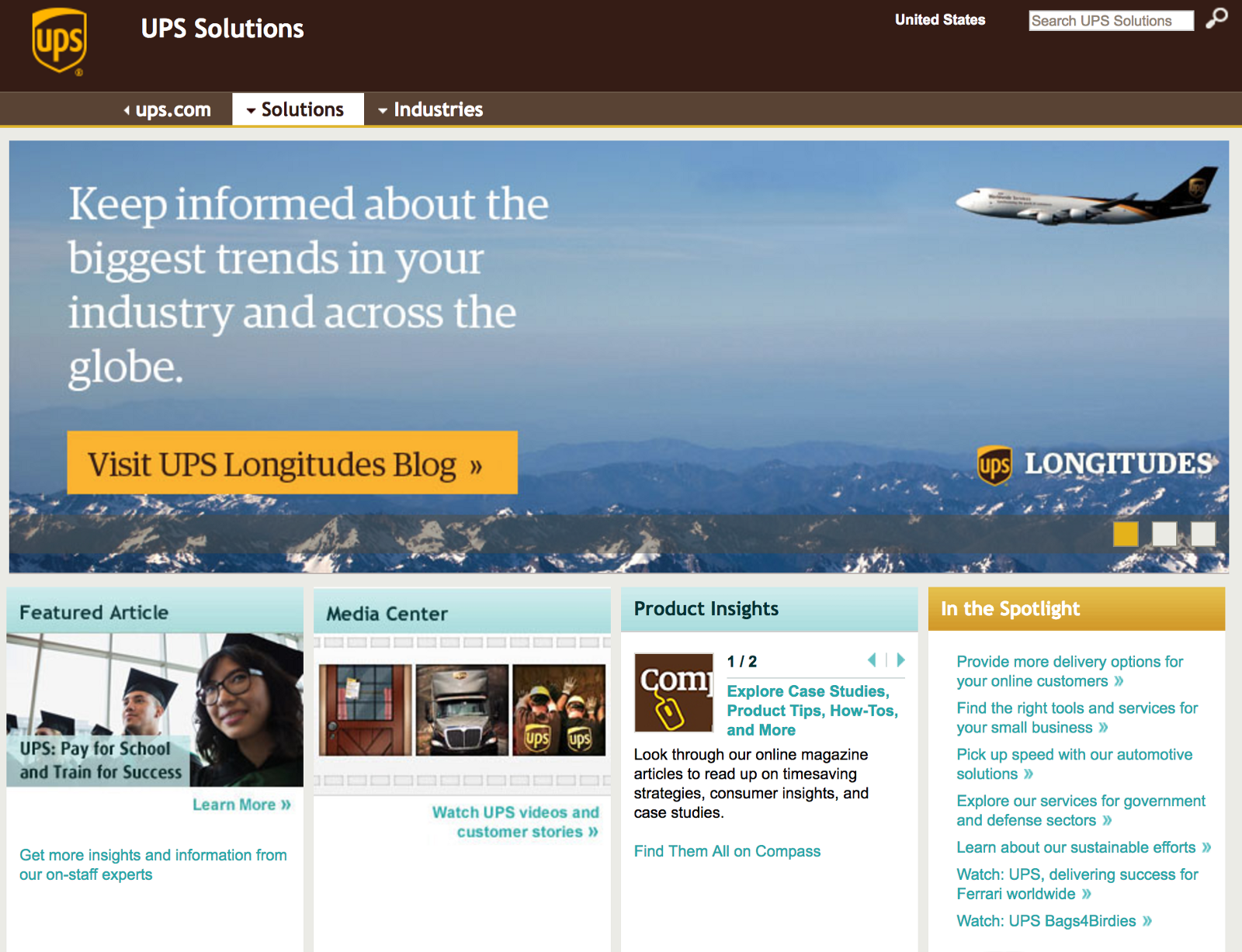 72a4c1892db98 In the case of United Parcel Service (aka UPS), the company breaks the  model by focussing on solutions and industries, as opposed to products and  solutions, ...