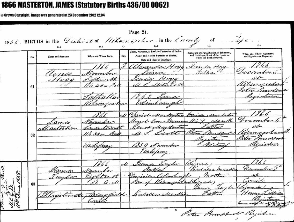 James masterton 18661954 and agnes cecillia inglis 18671952 birth certificate for james masterton aiddatafo Choice Image