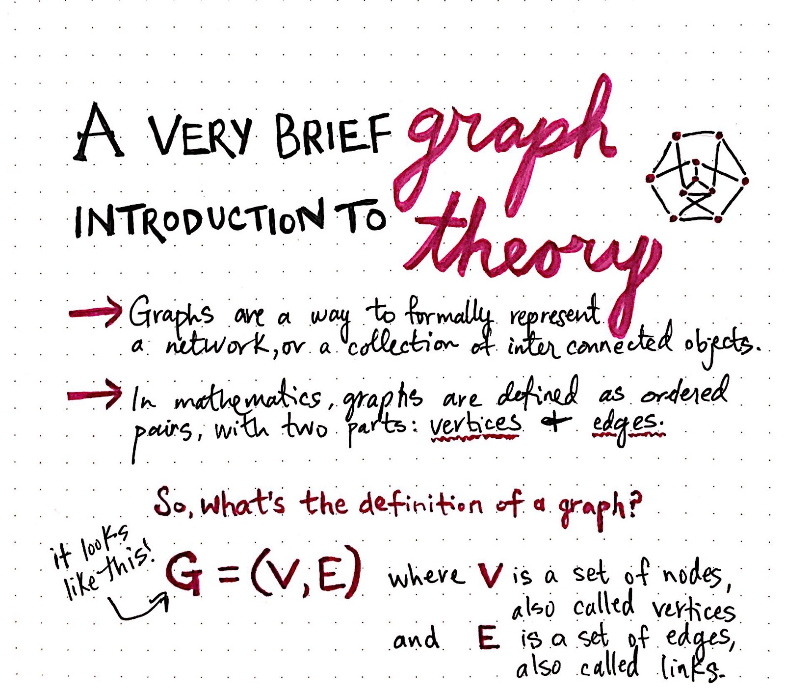 intro in graph theory Graph data structures as we know them to be computer science actually come from math, and the study of graphs, which is referred to as graph theory in mathematics, graphs are a way to formally represent a network, which is basically just a collection of objects that are all interconnected.