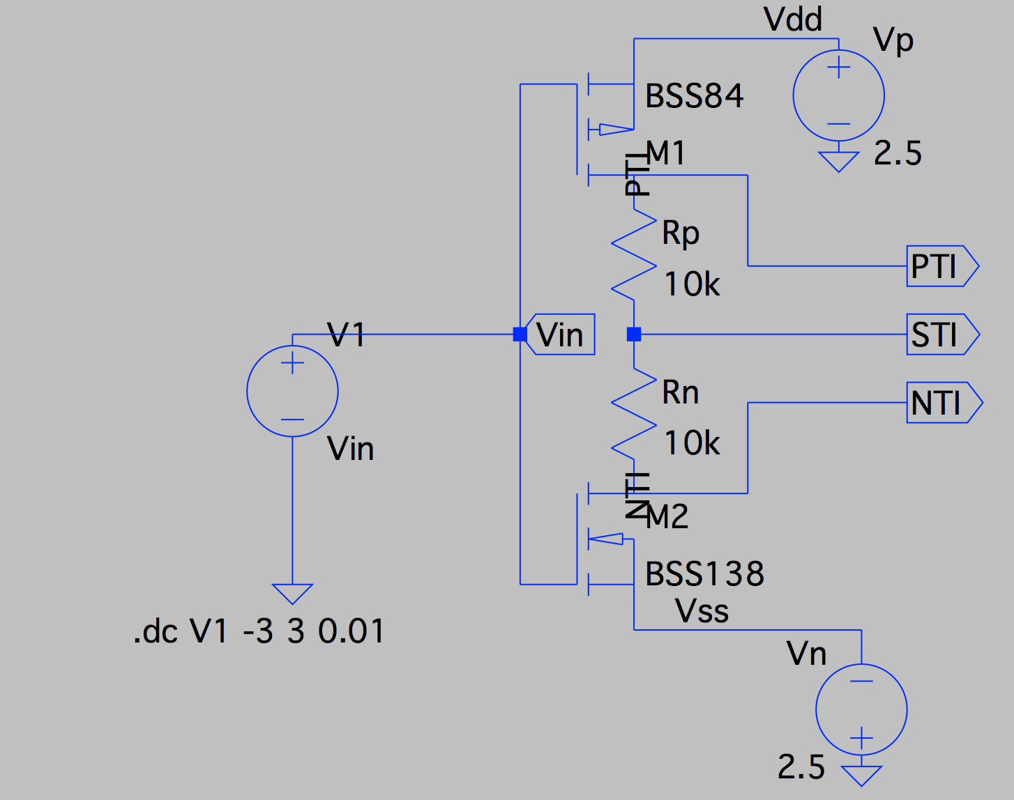 Exploring Ternary Logic Building Inverters Using Not Gate Transistor Circuit The Bss84 Pmos Model Is Built In But Bss138 More Problematic So Im Documenting Here How I Solved This Missing Since It Was