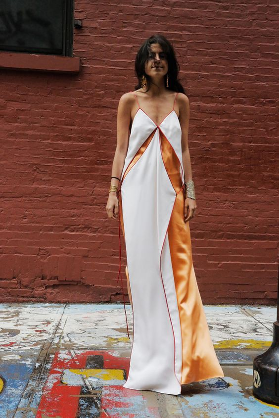 Leandra Medine in a bareback strappy maxi dress