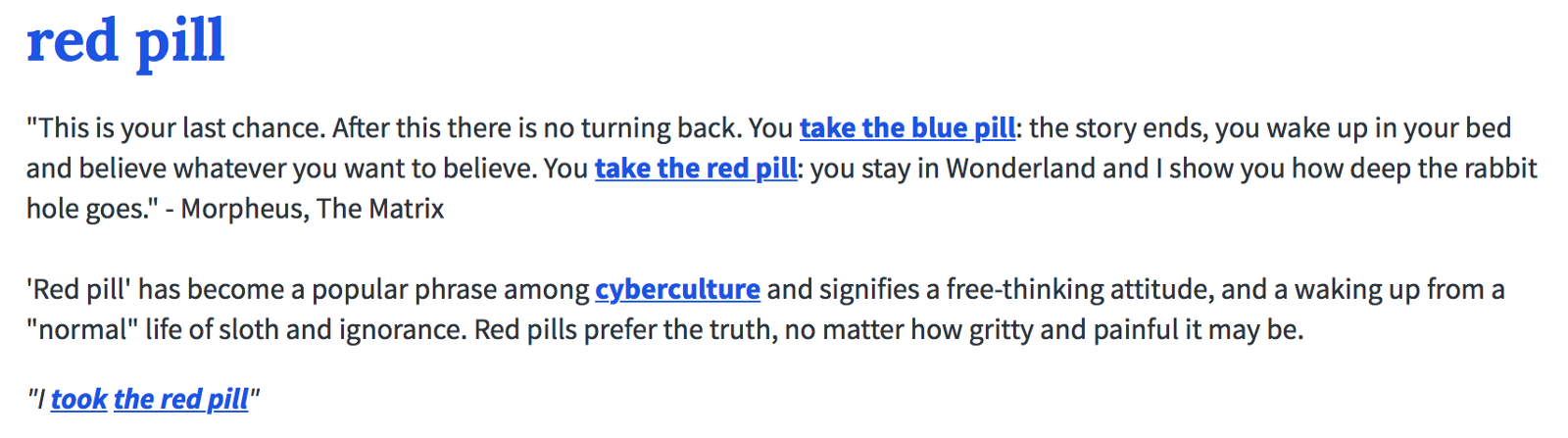 red pill urban dictionary