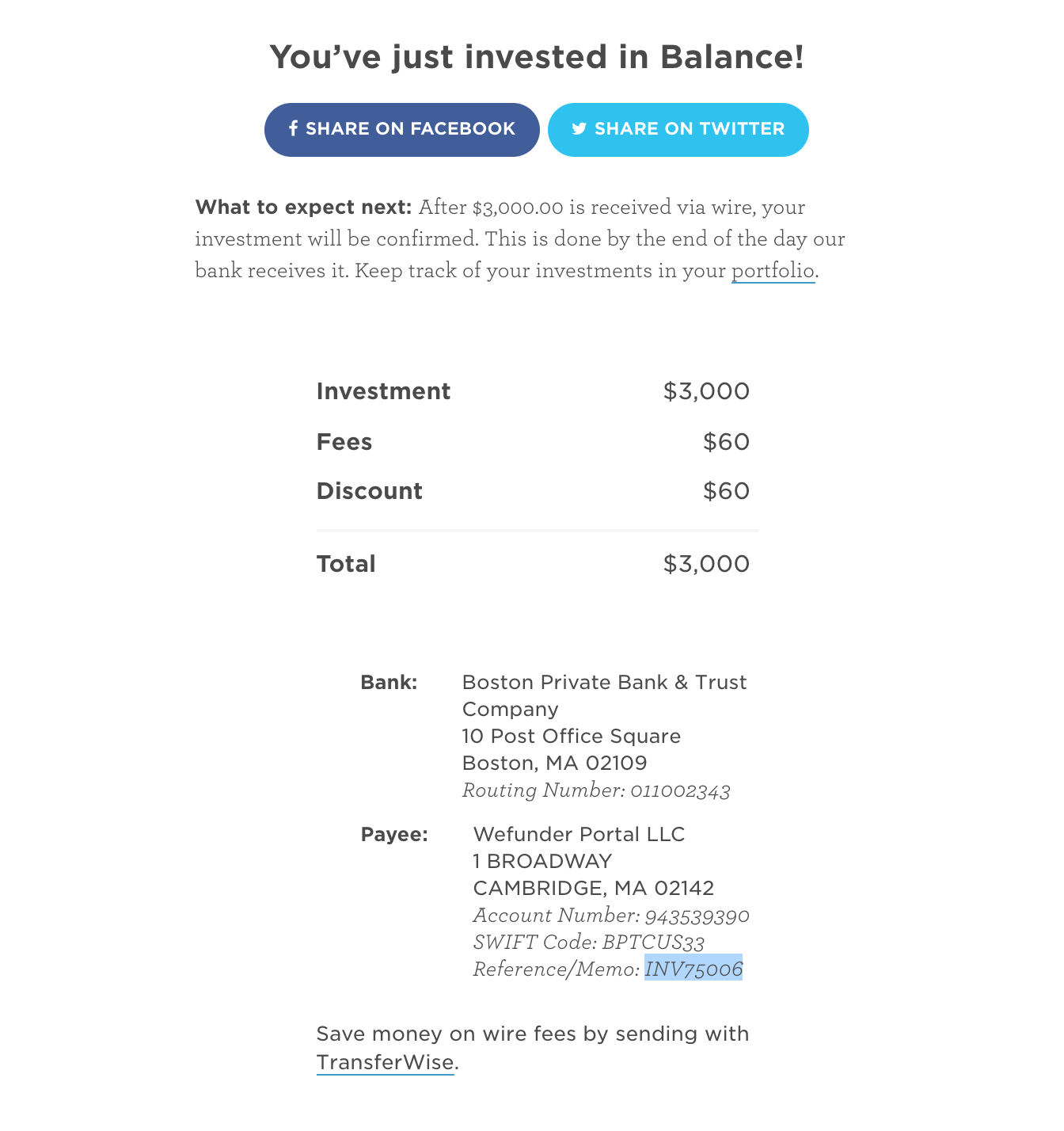 How To Invest In Companies On Wefunder Using Transferwise Wiring Money Routing Number 7 Nearly There