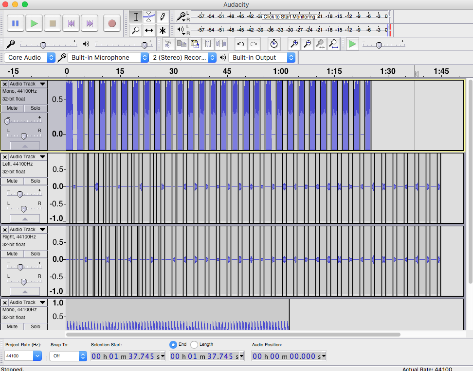 how to make audio mono in audacity