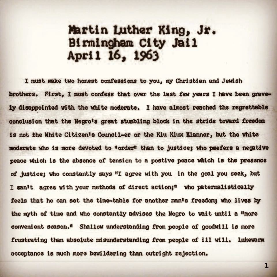 "mlks birmingham letter What if mlk's ""letter from birmingham jail"" had been a facebook post  ""letter from birmingham city jail  at 4 pm, the electronic frontier foundation."