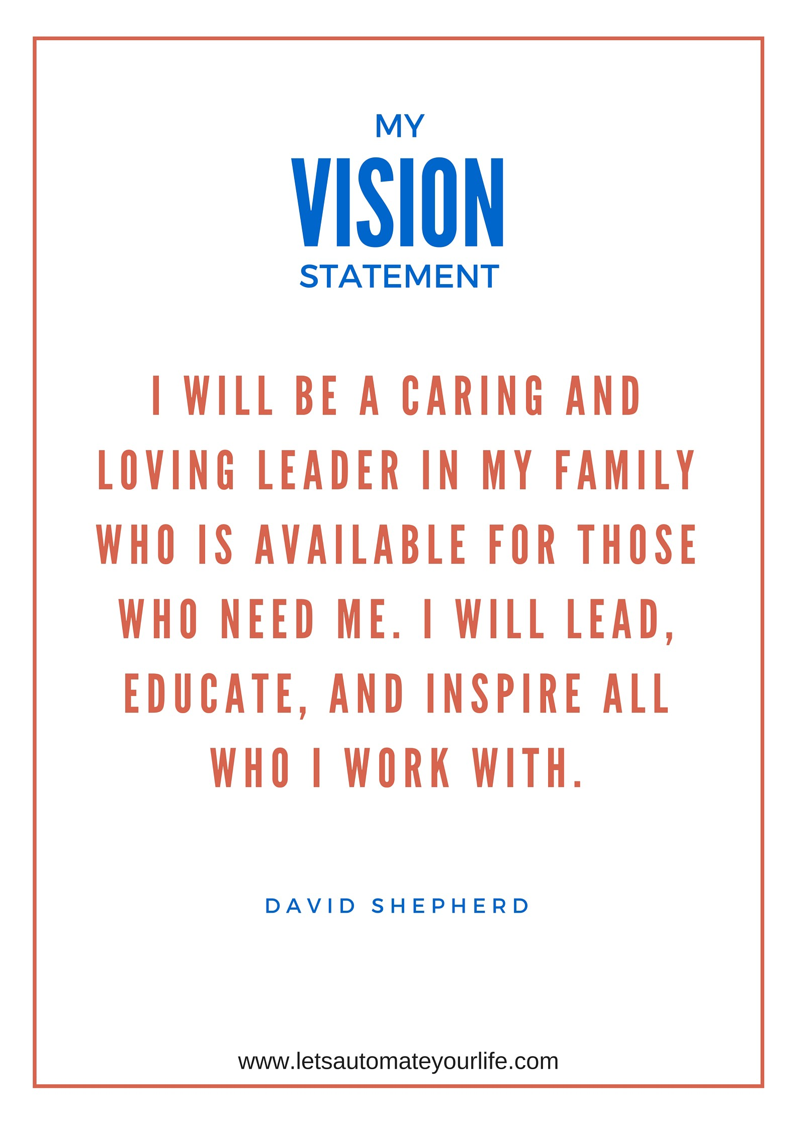 how to create your vision statement for success david shepherd