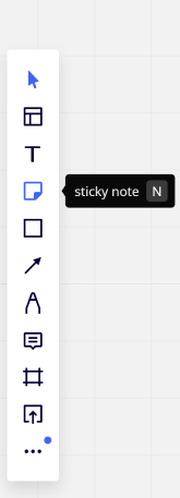 Keyboard shortcut key 'N' for sticky notes