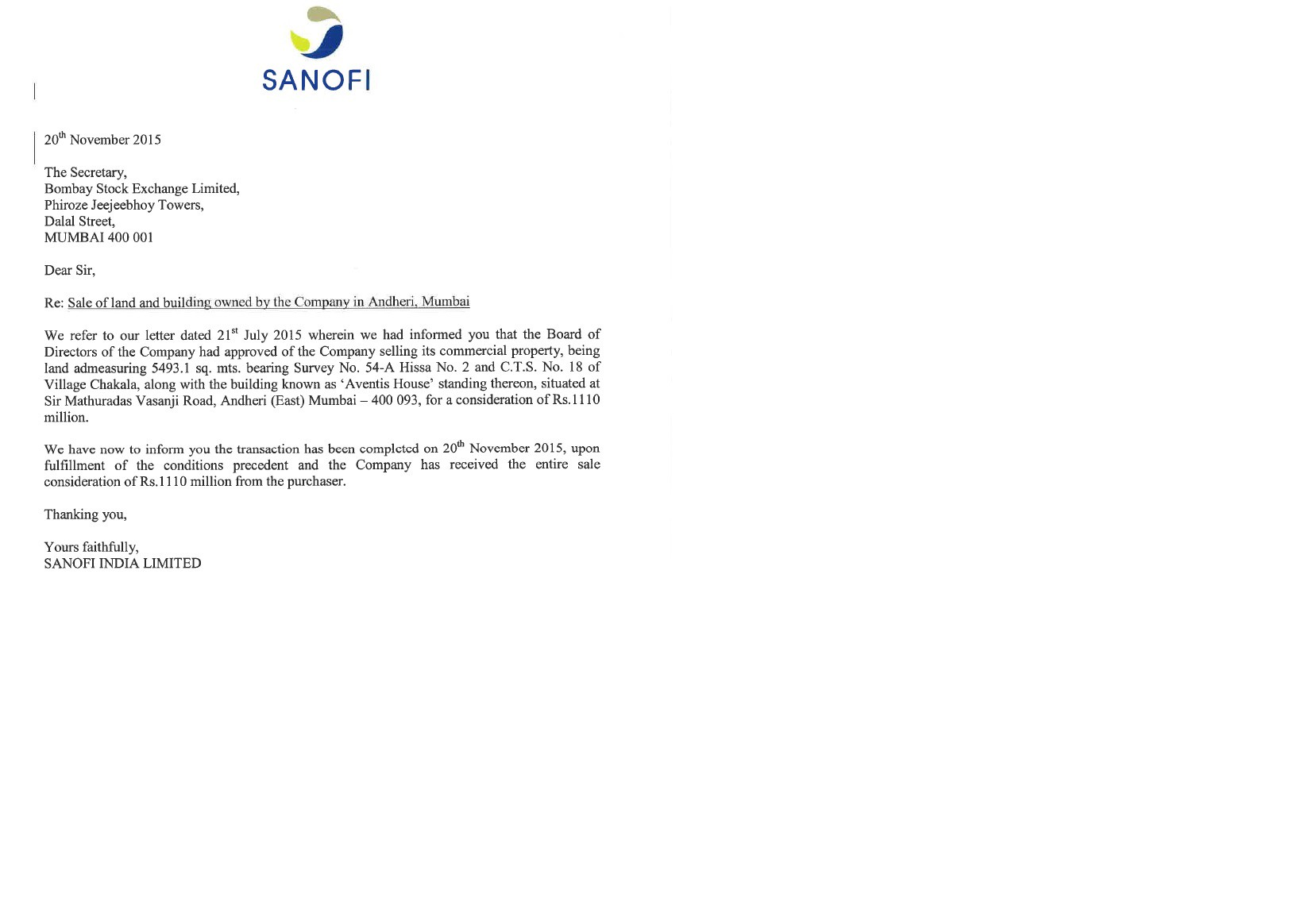 Sanofi India Sells Its Andheri Office Property For Rs 111 Crore