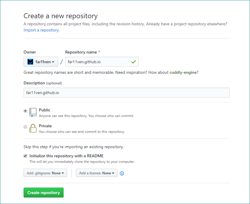 Repository creation flow on GitHub