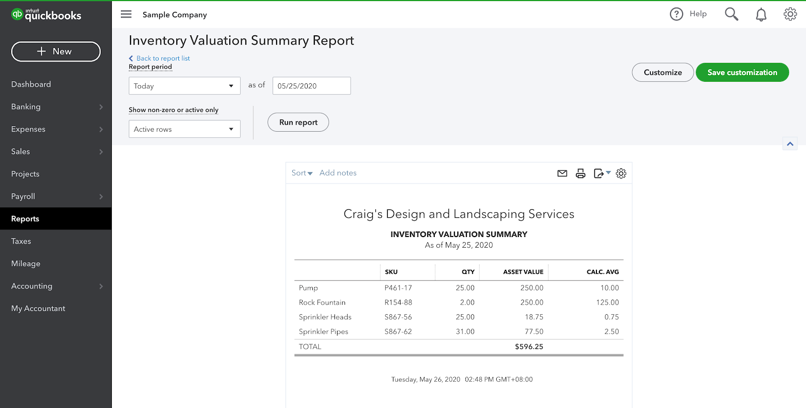Quickbooks Online- Inventory Valuation Report