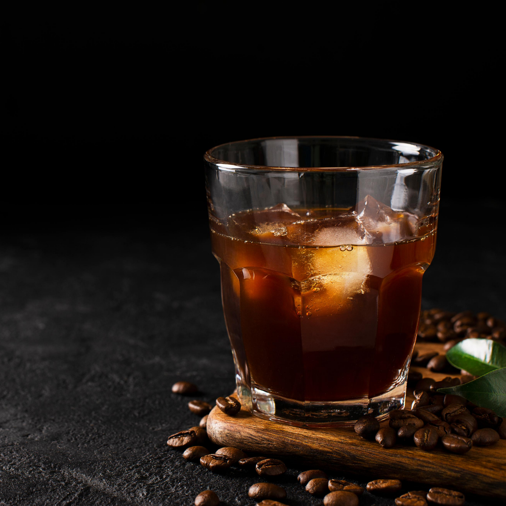 A fresh cup of cold brew coffee with ice.