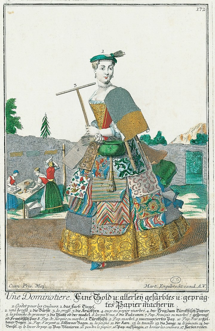 Martin Engelbrecht, hand-colored engraving of a dominotière, or maker of brocade and printed papers, wearing a dress of wallpaper samples (Germany, 1735–40)