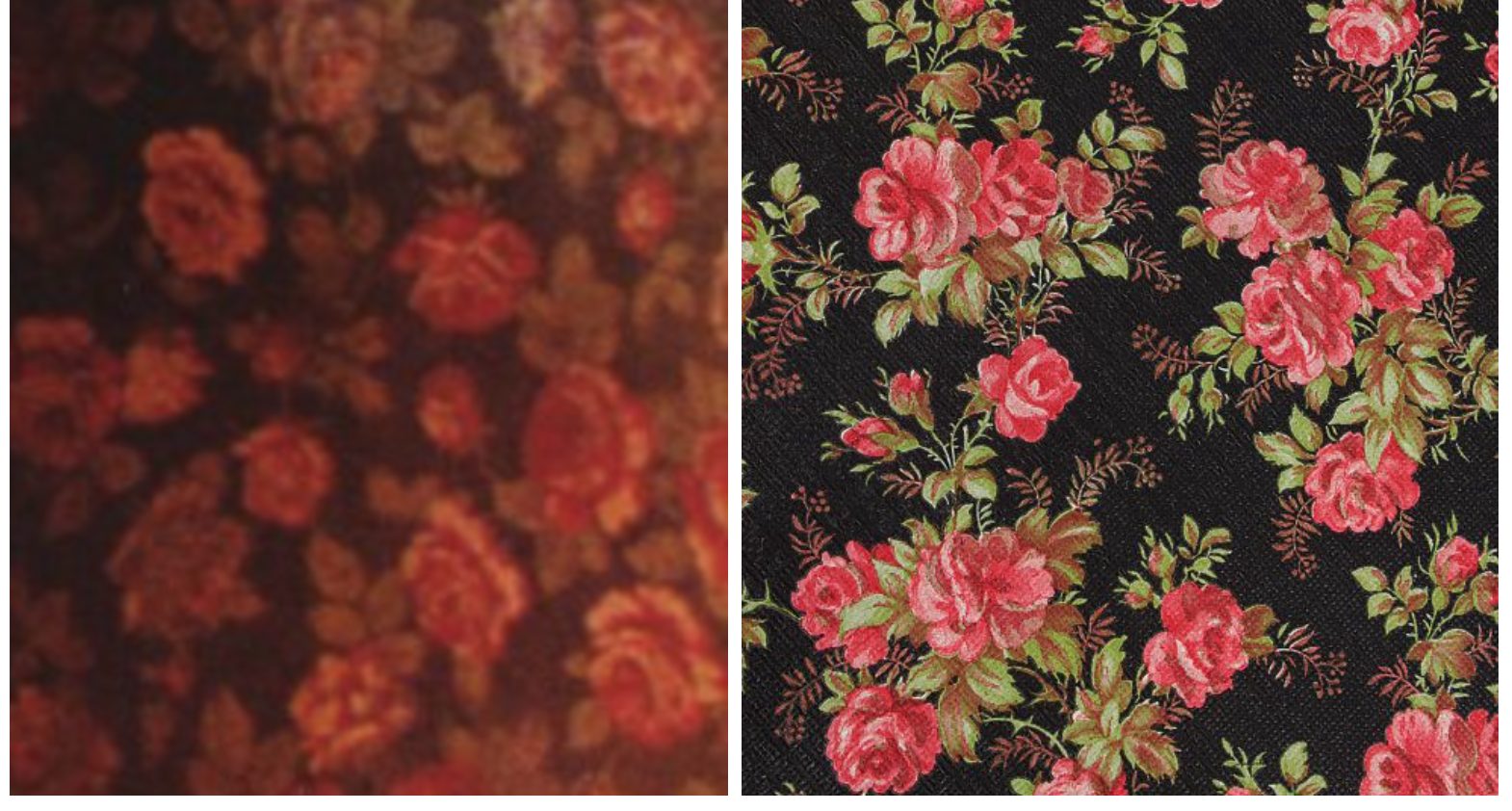 """Detail of Black Lodge wallpaper from FWWM (left), and the closest thing I could find online called """"Vintage Pink and Red Rose Wallpaper."""" I cannot find Lynch's wallpaper online anywhere. Did they make it, or dig it up from some antique place?"""