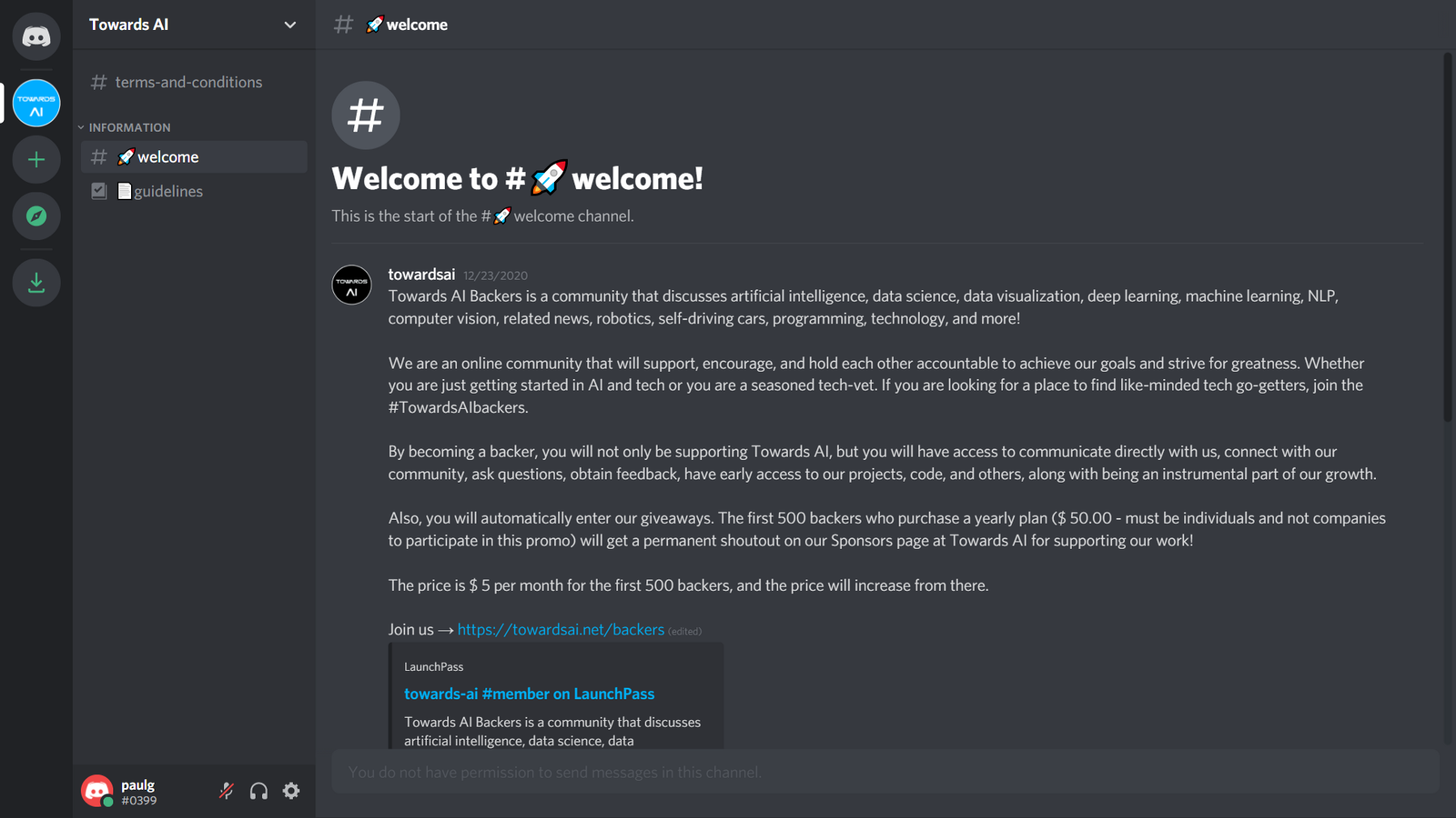 Welcome message when joining Towards AI Backers