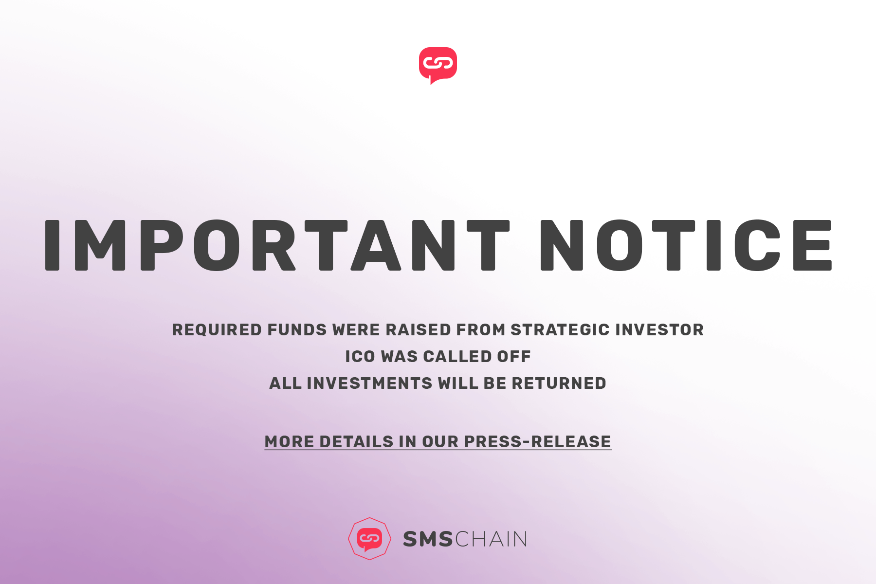 Smschain Announces Its Decision To Call Off Ico Which Has Been