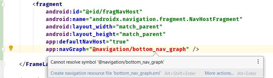 The error in the activity_main.xml after adding NavHostFragment