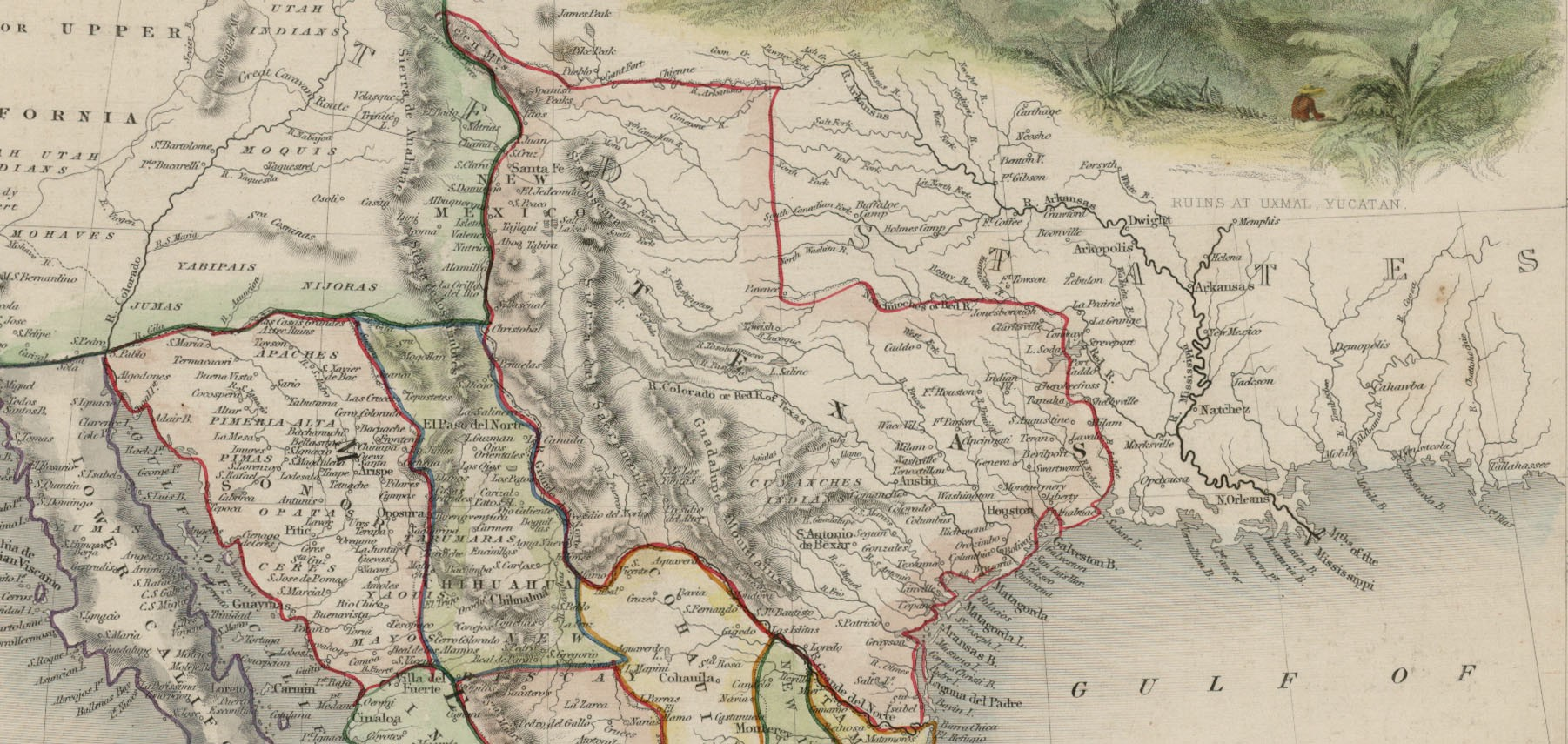 tallis map shows texas at its largest configuration stretching into wyoming and colorado john tallis j rapkin mexico california and texas london