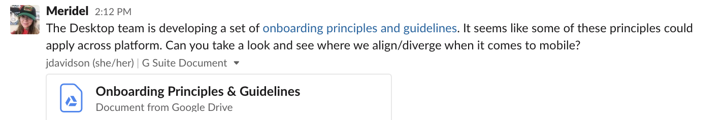 Screenshot of a Slack message asking another team member to review a document about desktop and see where its aligns or diverges with mobile.