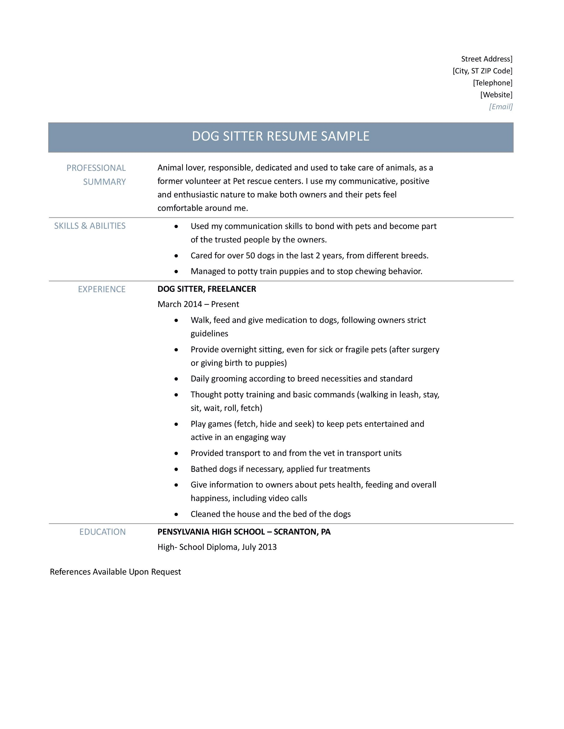 Dog Sitter Resume Samples Tips and Template Online Resume Builders