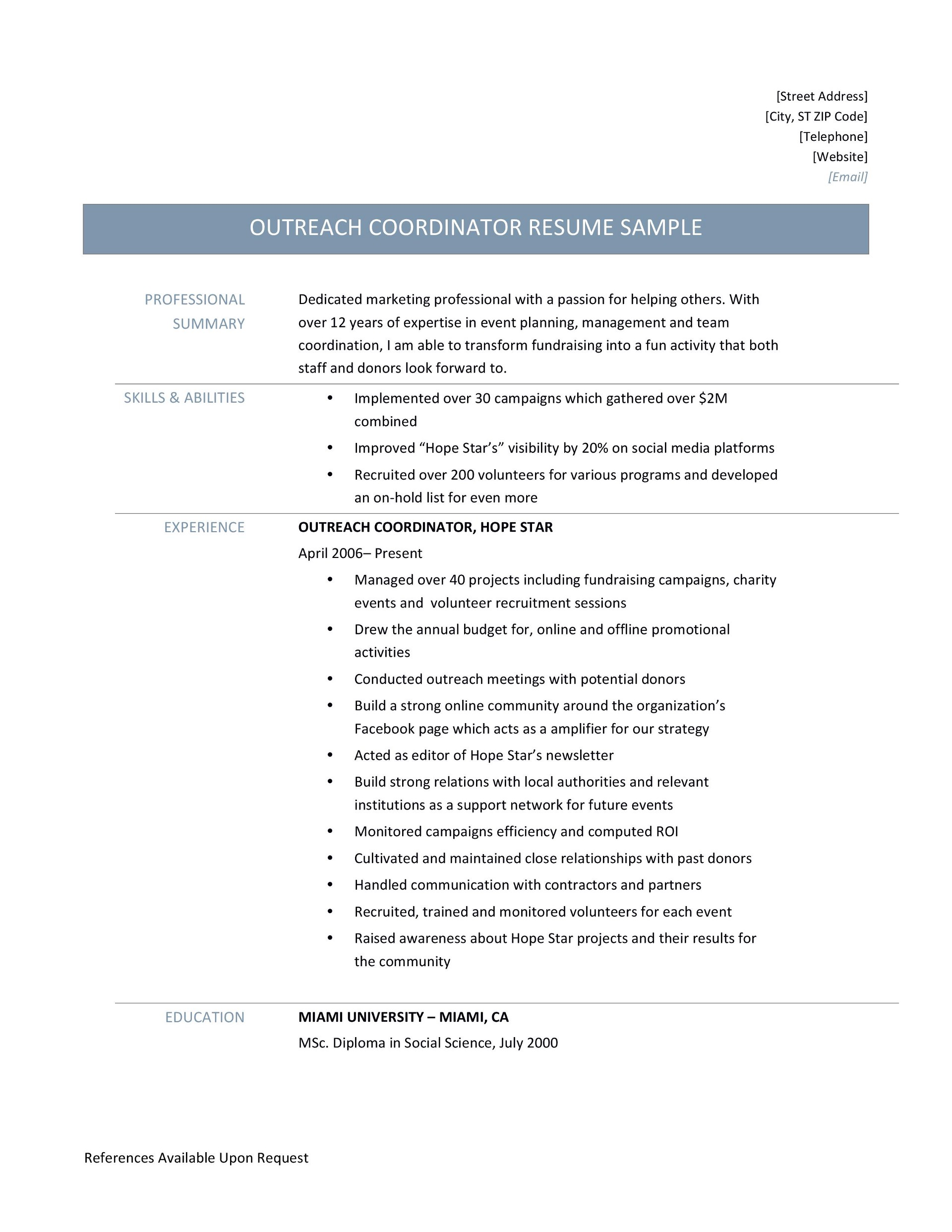 outreach coordinator resume samples tips and template