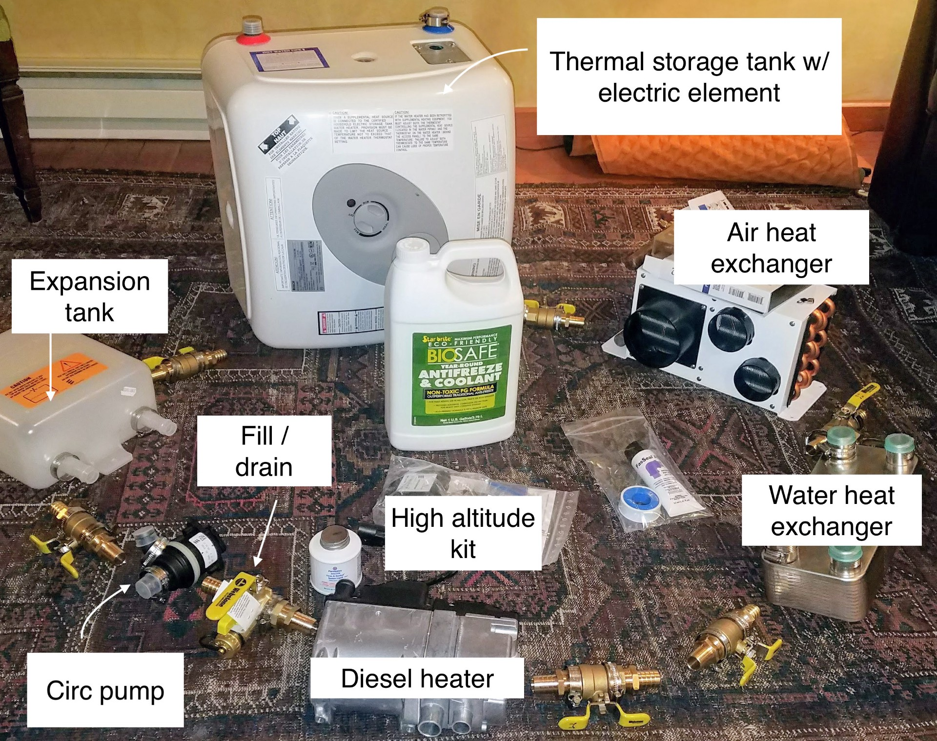 Diy High Altitude Hydronic Water And Space Heating In A Sprinter Van Espar D2 Heater Wiring Diagram