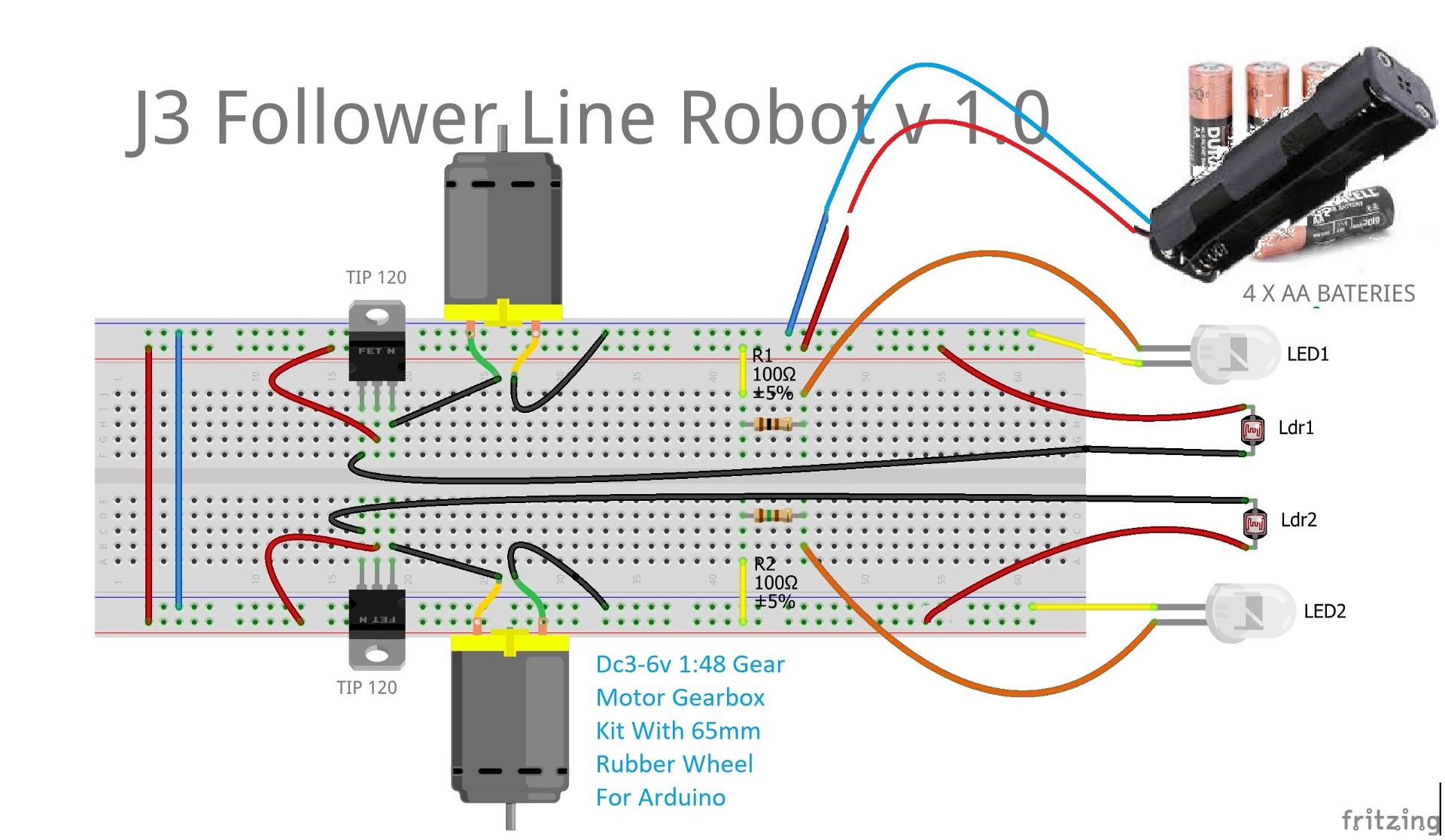 J3 Follower Line Robot v1.0 – KidsTronics – Medium