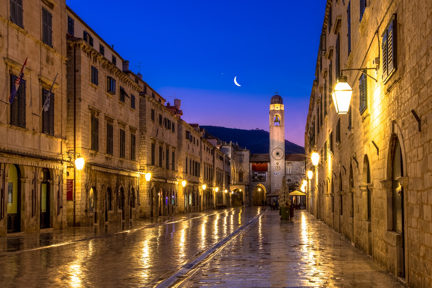 Crescent Moon during an early morning walk in the town of Dubrovnik