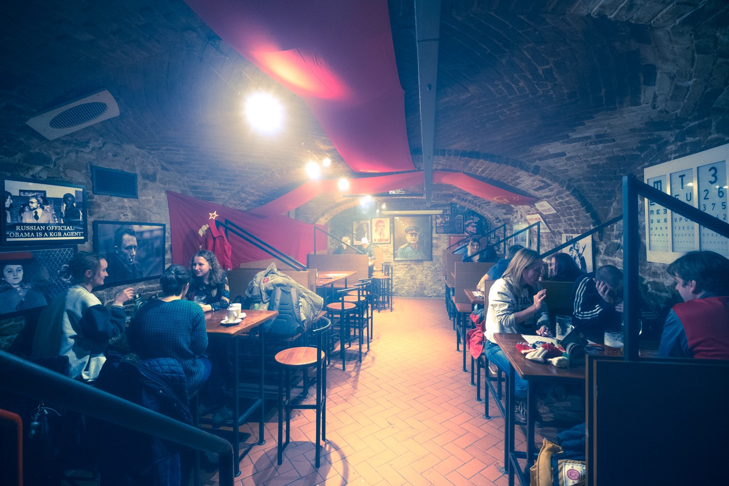 KGB Bar in Bratislava, Slovakia, with it's mysterious smoke-filled atmosphere and communist era memorabilia.