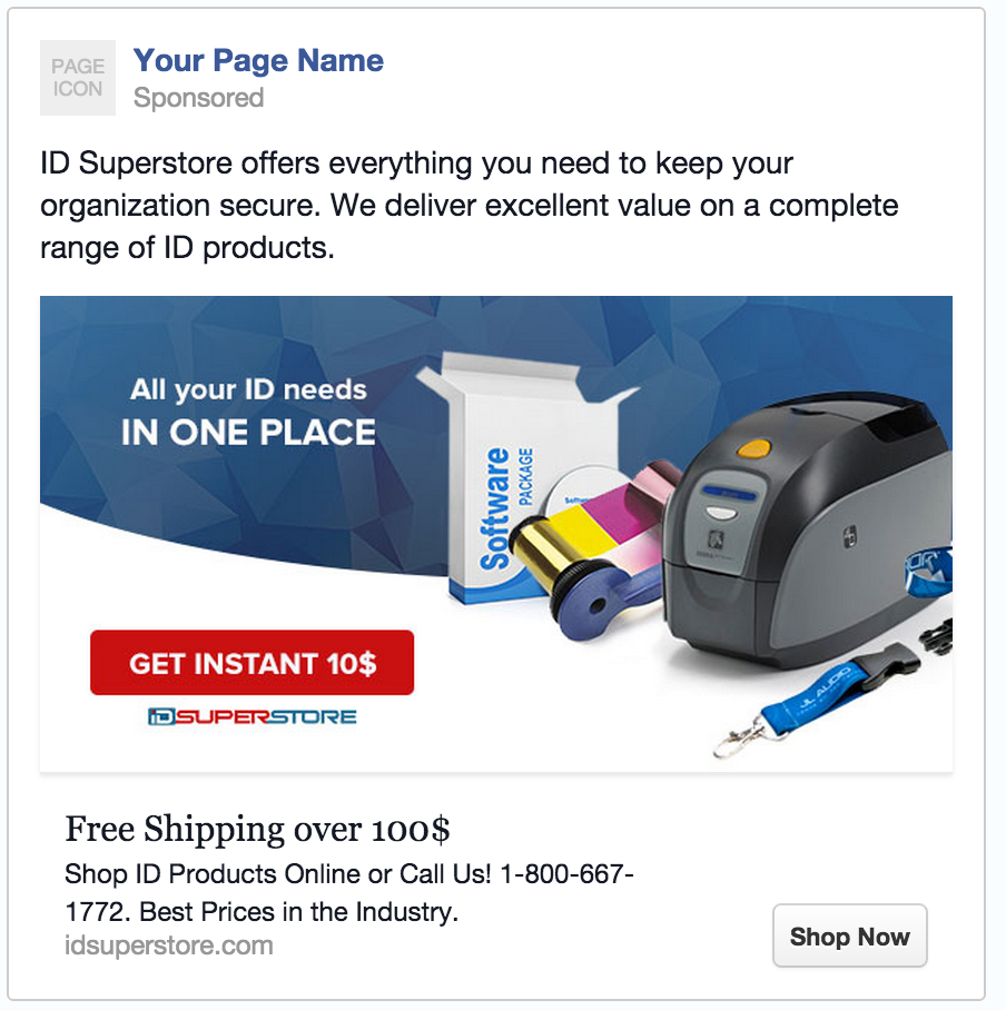 Example of AdRoll Facebook campaign