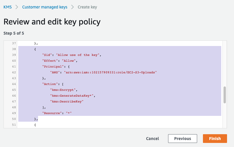 Editing a KMS key policy in the AWS KMS Console
