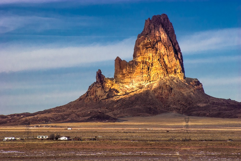 Approach to Monument Valley at sunrise