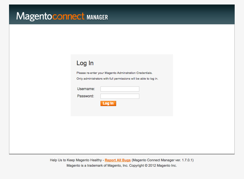Login to Magento Connect