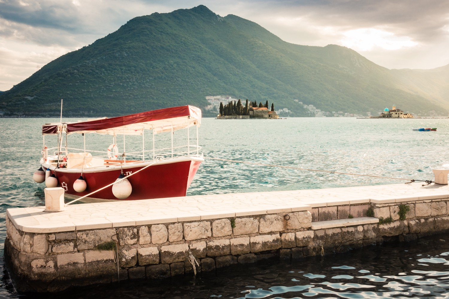 Early morning in Perast along Kotor Bay with it's UNESCO island churches