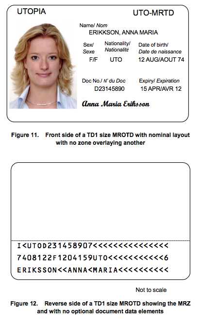 A national ID card, a standard ICAO Doc 9303 TD1 document.