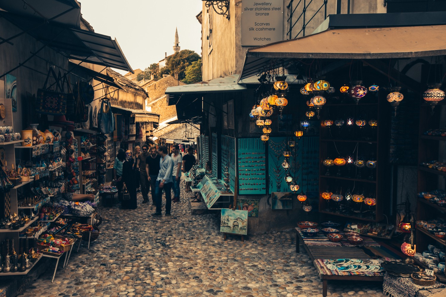 Bazaar on the Eastern side of Stari Most in Mostar.