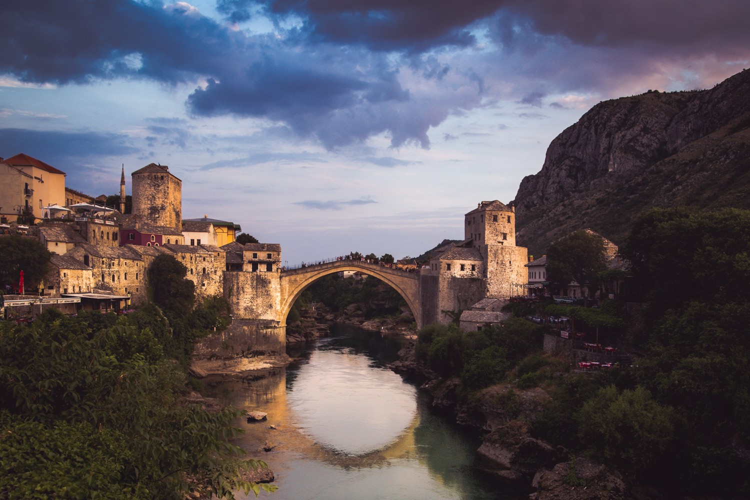 Mostar and Stari Most (Old Bridge) from the grounds of Koski Mehmed Pasha Mosque