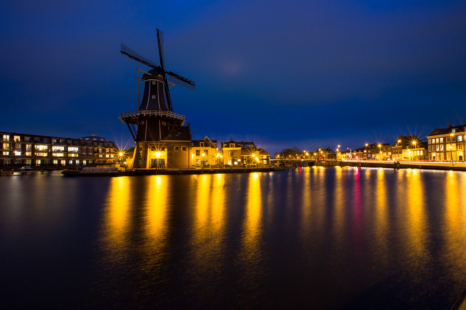 De Adriaan Windmill in the town of Haarlem in the Netherlands (Holland) at dusk.