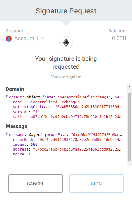 Figure 2: a signature request from a dApp that uses EIP712