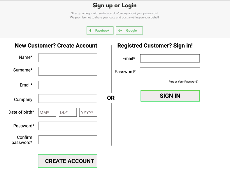 Example of form with obligatory checkout — 9 more fields to fill before making a purchase