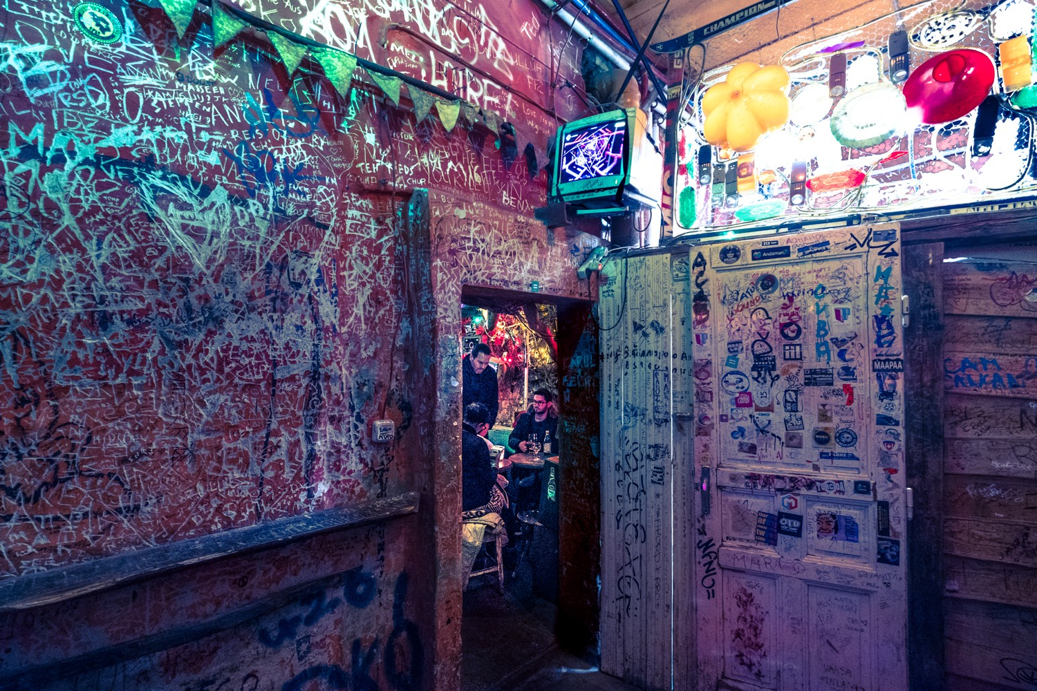 Graffitti on the walls of the ruin pub, Szimpla Kert, Budapest