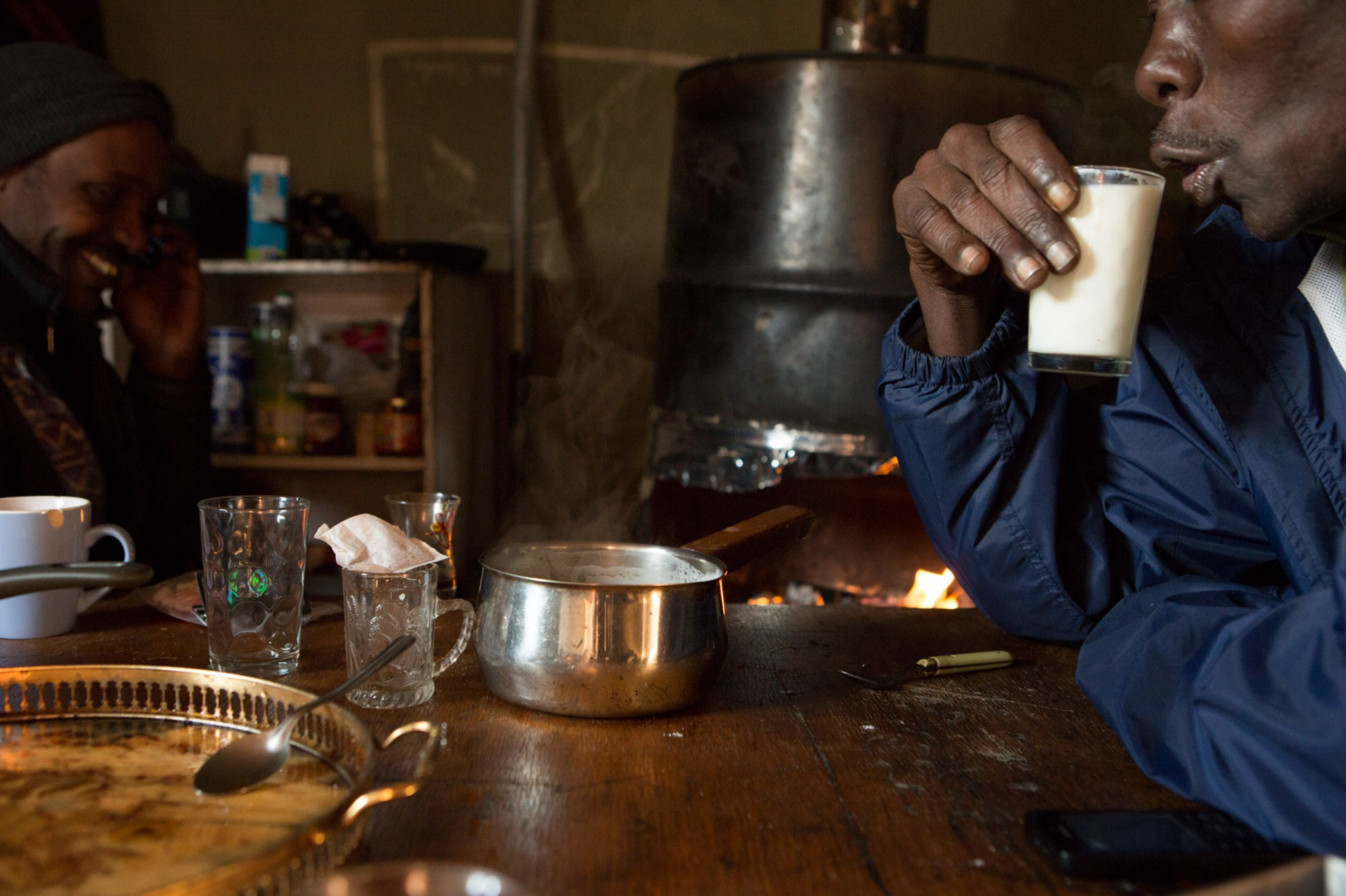 Customs also nourish us. Chai ibn, or sweetened milk tea, is a typical morning breakfast in a Sudanese lumma, or informal gathering place, where friends share meager.